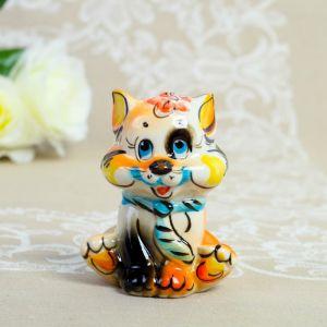 Сувенир  «Котик с галстуком» , трехцветный микс, гжель 4253064