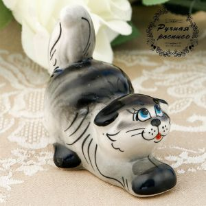 Сувенир  «Котик», сидячий, полосатый темный, гжель 3281266