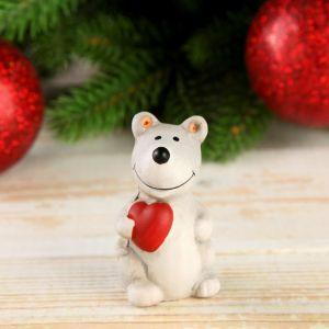 "Сувенир керамика ""Маленький мышонок с сердечком"" 6,2х3х7,5 см   4169294"
