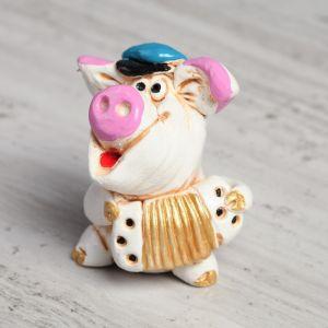 """Статуэтка """"Свинка с гармошкой"""", 6 см"""
