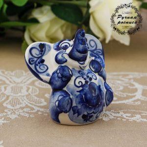 Сувенир «Слон Чайник», 9 см, гжель 2277582