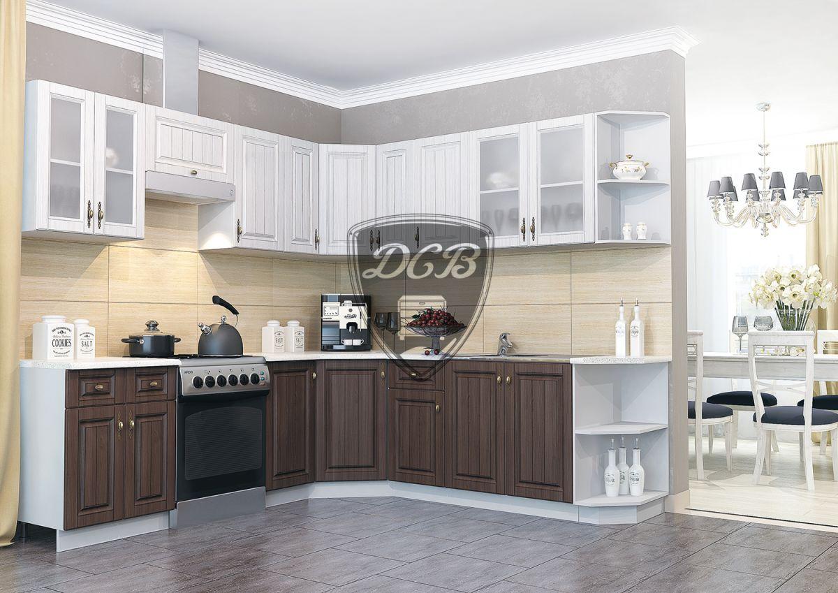 Кухонный гарнитур Империя 2,45х2,35  Сандал / Бразильский орех