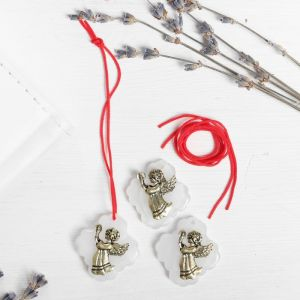 Набор талисманов на крас.нити «Ангел со свечой» 3 шт., белый, золото, 2,5 х 2,7 см