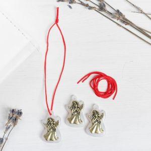 Набор талисманов на крас.нити «Ангел-хранитель» 3 шт., белый, золото, 1,6 х 2,5 см