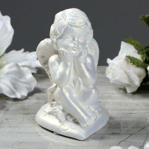 """Статуэтка """"Ангел на сердечке"""", цвет перламутровый, 10 см"""