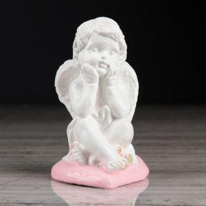 """Статуэтка """"Ангел на сердечке 2"""" с розовой отделкой, 10 см"""