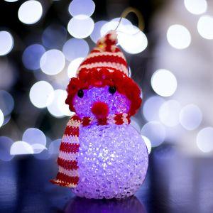 """Игрушка световая """"Снеговик"""" (батарейки в комплекте) 6х13 см, 1 LED RGB, КРАСНЫЙ 1351711"""