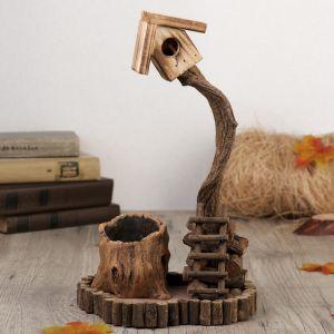 """Сувенир дерево """"Скворечник на дереве и пень"""" 30,5х21х18 см   3483850"""