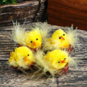 "Сувенир пасхальный ""Цыплёнок в гнёздышке"" набор 4 шт 3х4х4 см   4559941"