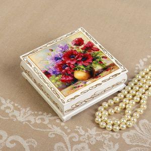 Шкатулка «Букет цветов в вазе», белая, 10?10 см, лаковая миниатюра 3696460