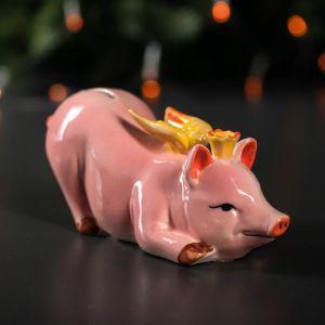 """Копилка """"Свинка Ангел"""", глазурь, розовый цвет, 8 см"""