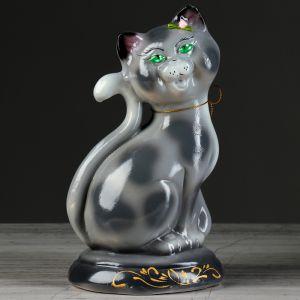"""Копилка """"Кошка Соня"""", покрытие глазурь, серая, 26 см"""