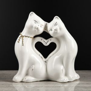 """Копилка """"Кошки сердце"""", глянец, белый цвет, 27 см, микс"""