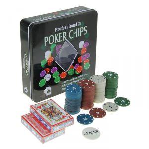Покер, набор для игры (карты 2 колоды, фишки 100 шт) с номиналом, 20х20 см 278717