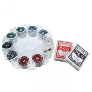 Покер, набор для игры (карты 2 колоды, фишки 100 шт), d=21 см 440633