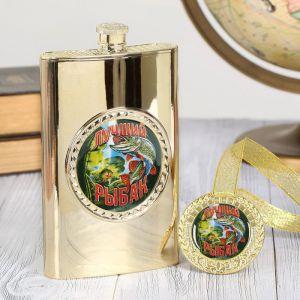 """Подарочный набор """"Лучший рыбак"""", фляжка 300 мл, медаль   2948494"""