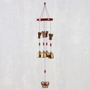 "Музыка ветра металл, дерево ""Бабочки"" 4 колокольчика 55 см   4635018"