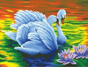 Алмазная мозаика «Прекрасные лебеди (без подрамника)» 40x50 см