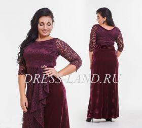 Вечернее платье с бархатной юбкой цвета марсала