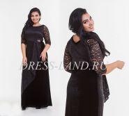 Черное вечернее платье с бархатной юбкой