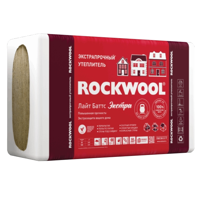 Утеплитель Rockwool ЛайтБаттс экстра 1000*600*50мм, 4.80м2, 0.240м3 (40-50 кг/м3)