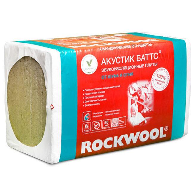 Утеплитель Rockwool Акустик Баттс 1000*600*100мм, 3.00м2, 0.300м3 (45 кг/м3)