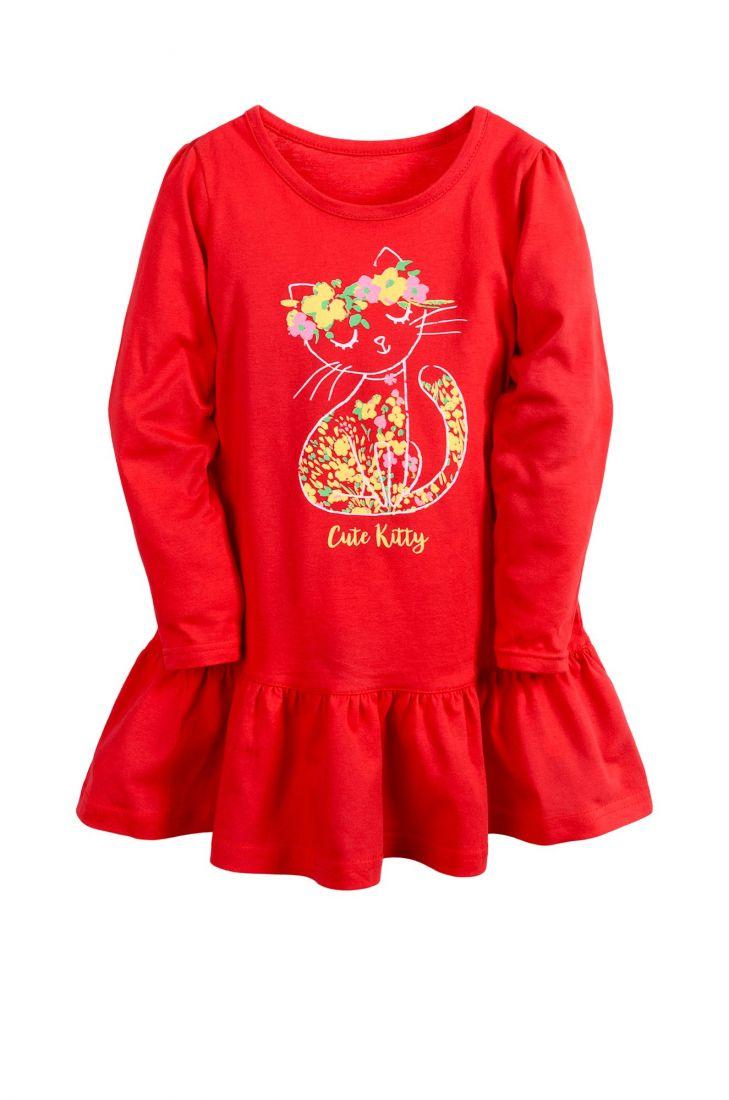 Красное платье для девочки Кошечка