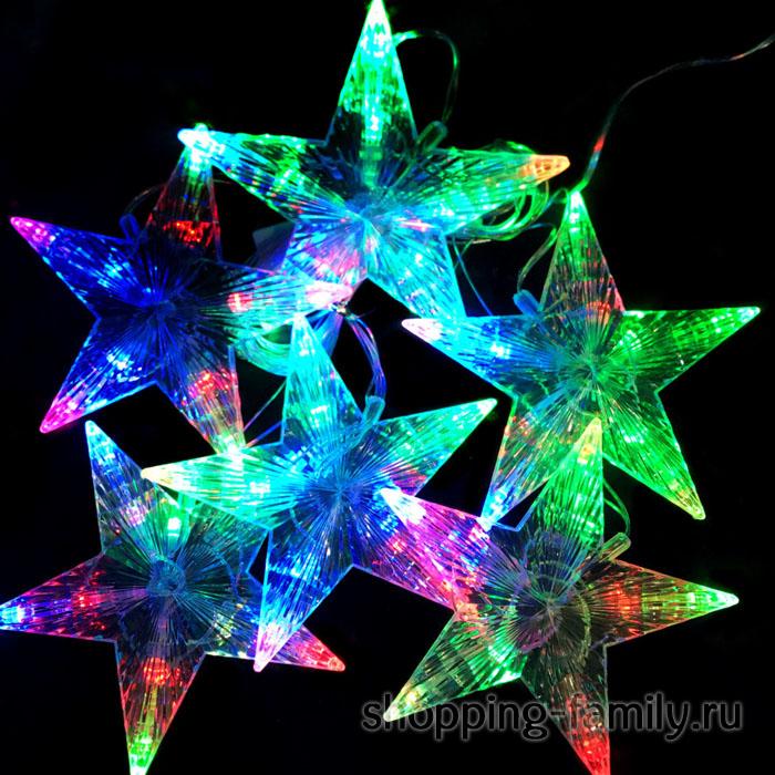 Электрическая Новогодняя гирлянда из звёзд, 270 см