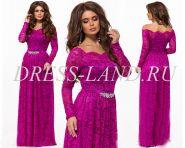 Кружевное платье в пол цвета фуксия