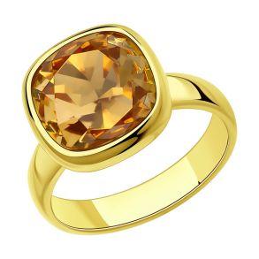Кольцо из золочёного серебра с кристаллом Swarovski 93010846 SOKOLOV