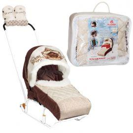 Матрасик для санок детский (комплект с крышей) бежевый
