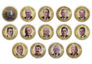 Набор монет 13 штук, 10 РУБЛЕЙ - ПРАВИТЕЛИ СССР и РОССИИ, цветная эмаль и гравировка