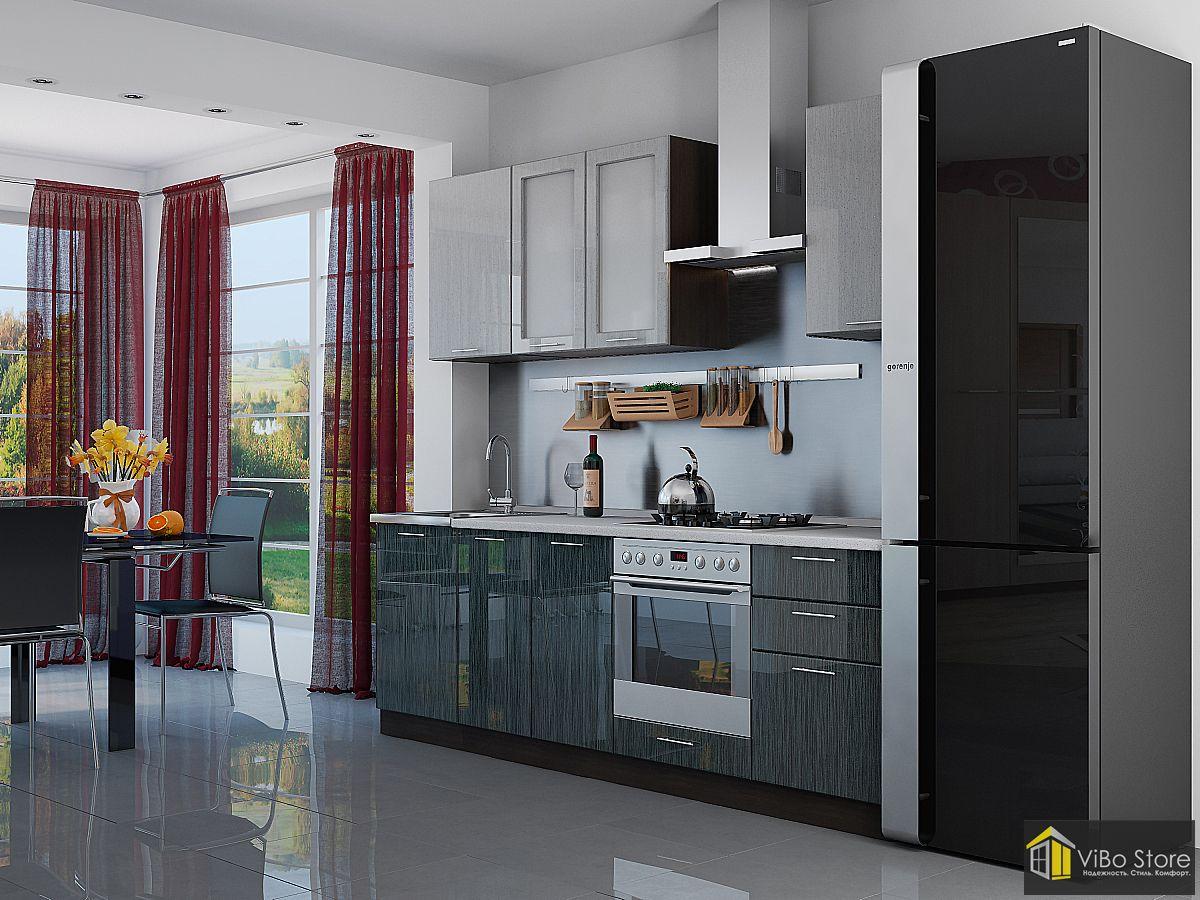 Валерия-М-03. Недорогая кухня серый металлик дождь