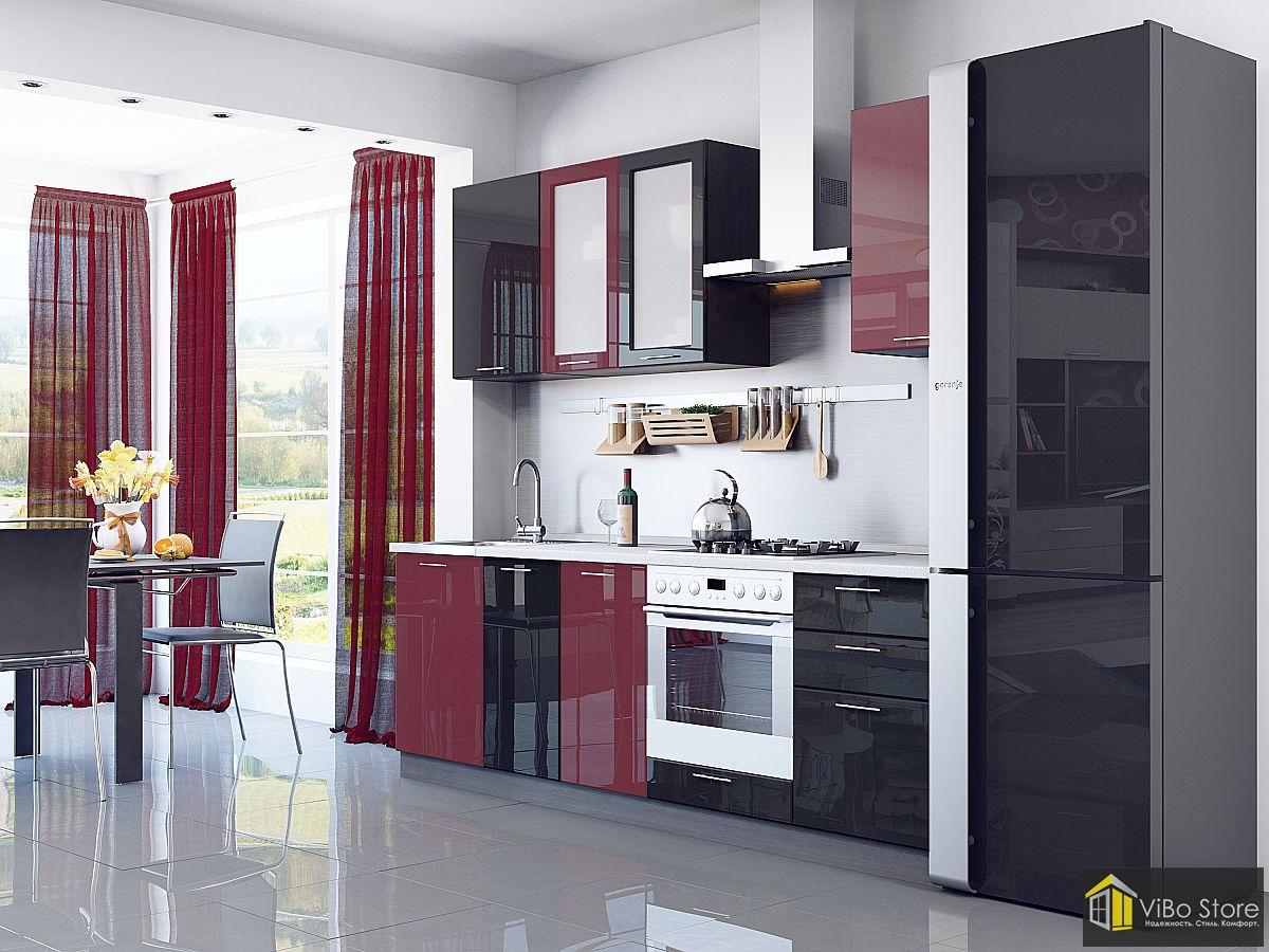 Валерия-М-03 21694. Недорогая кухня бордовый глянец венге