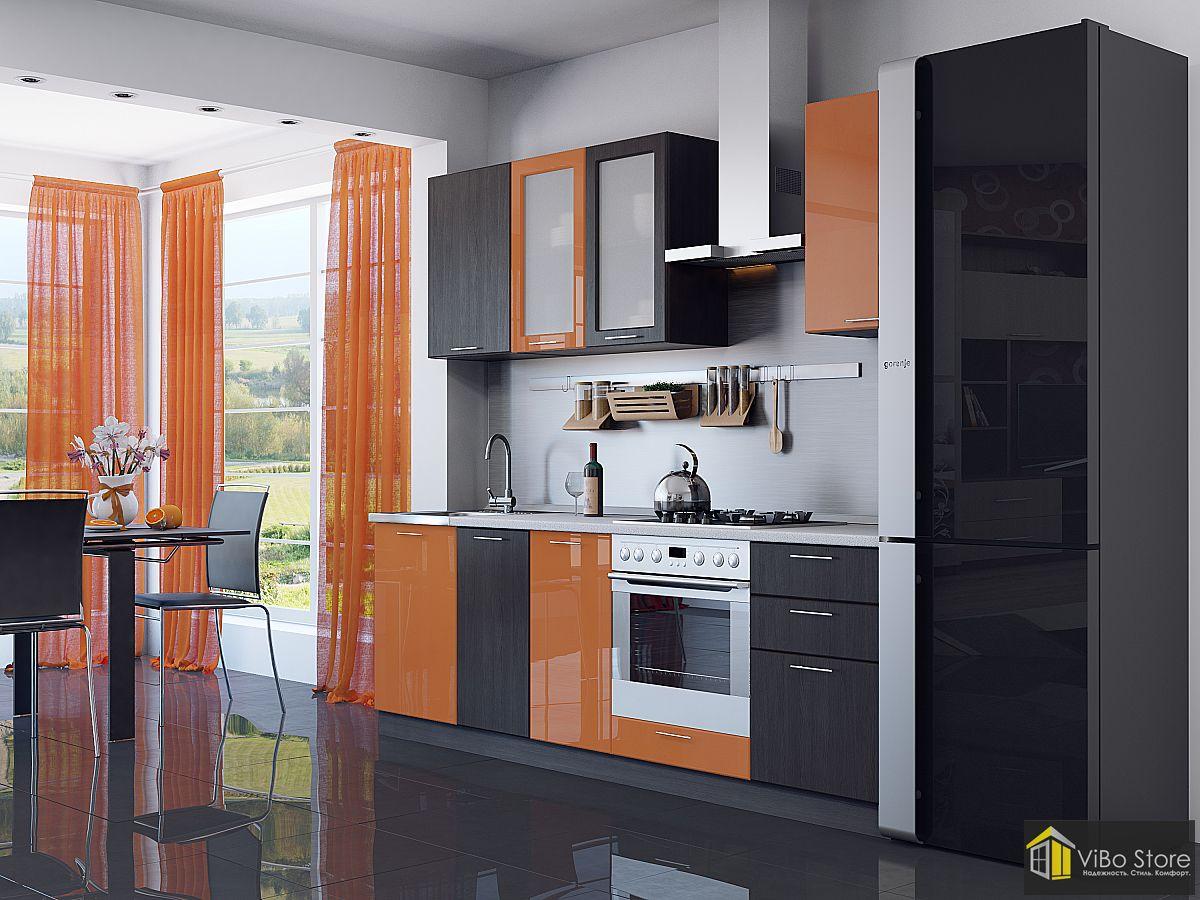 Валерия-М-03 21694. Недорогая кухня оранжевый глянец венге