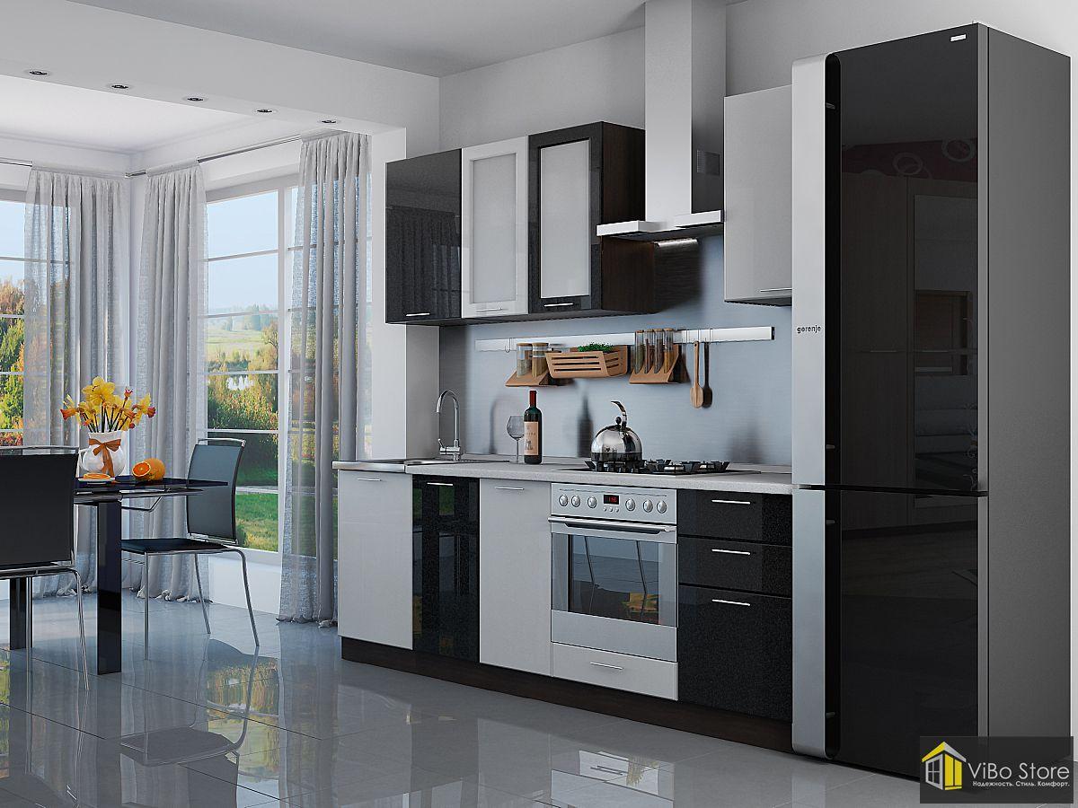 Валерия-М-03 21700. Темная модульная кухня в современном стиле