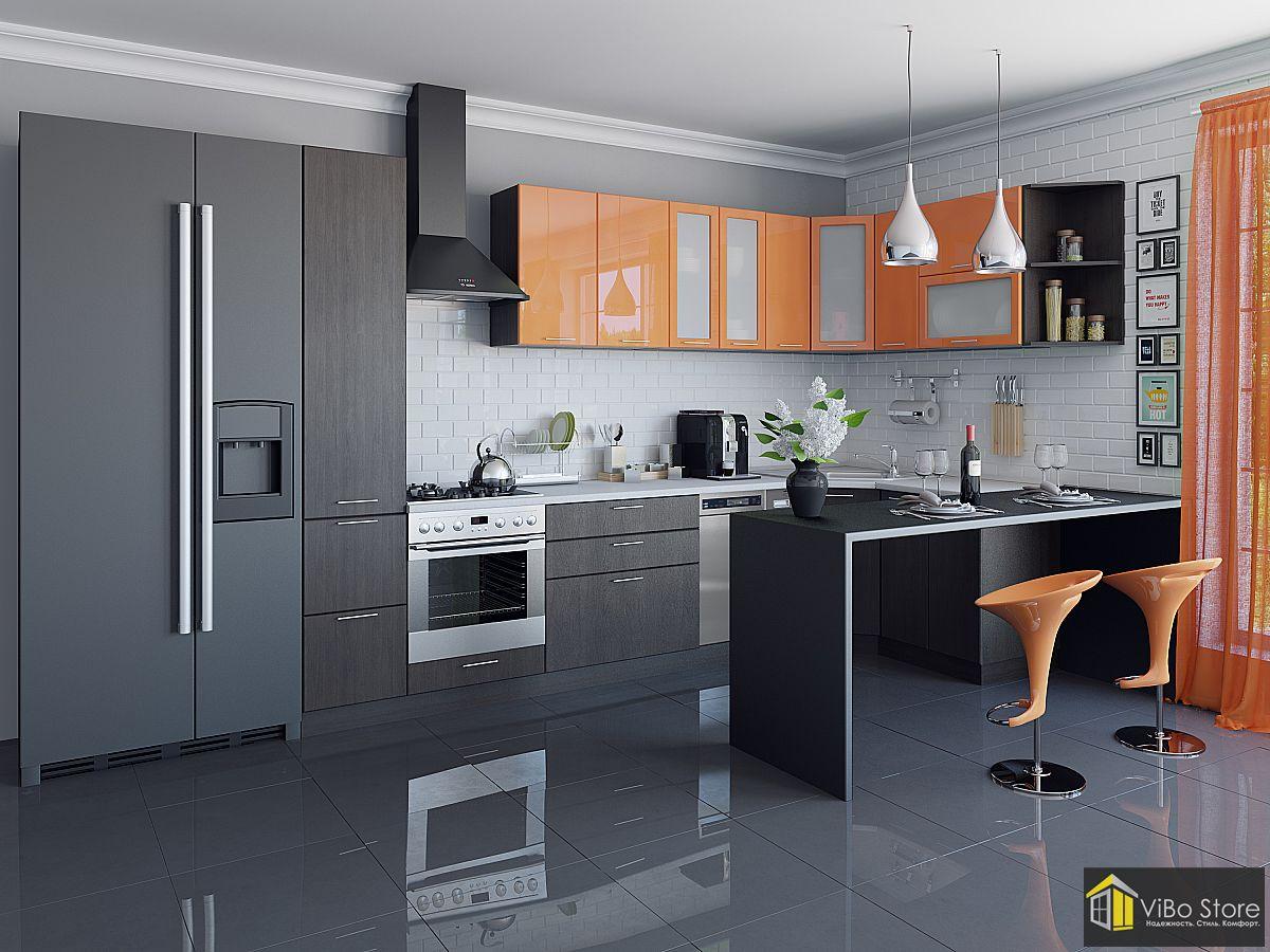 Валерия-М-05 21708. Современная кухня хай-тек с фасадом оранжевый глянец