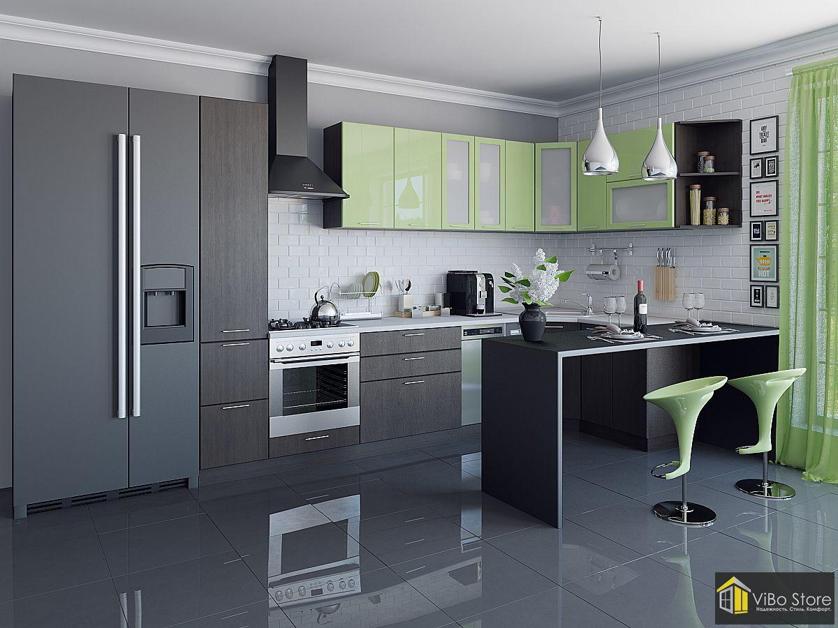 Валерия-М-05 21709. Современная корпусная кухня фасад лайм венге