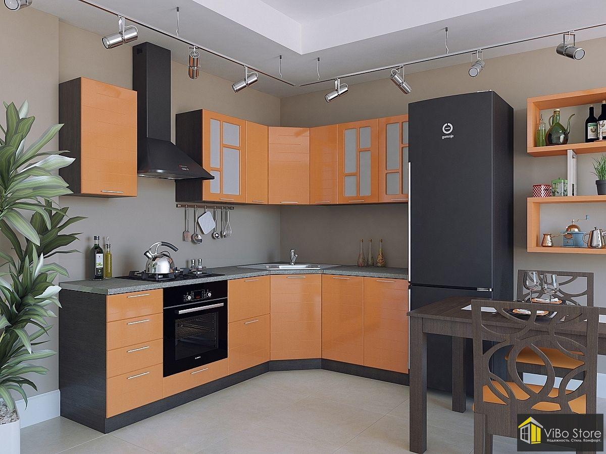Техно-02 21776. Угловая модульная кухня оранжевого цвета