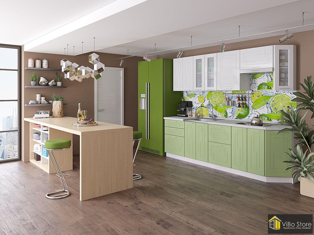Вега-01 21777.  Модульная кухня светло-салатового цвета