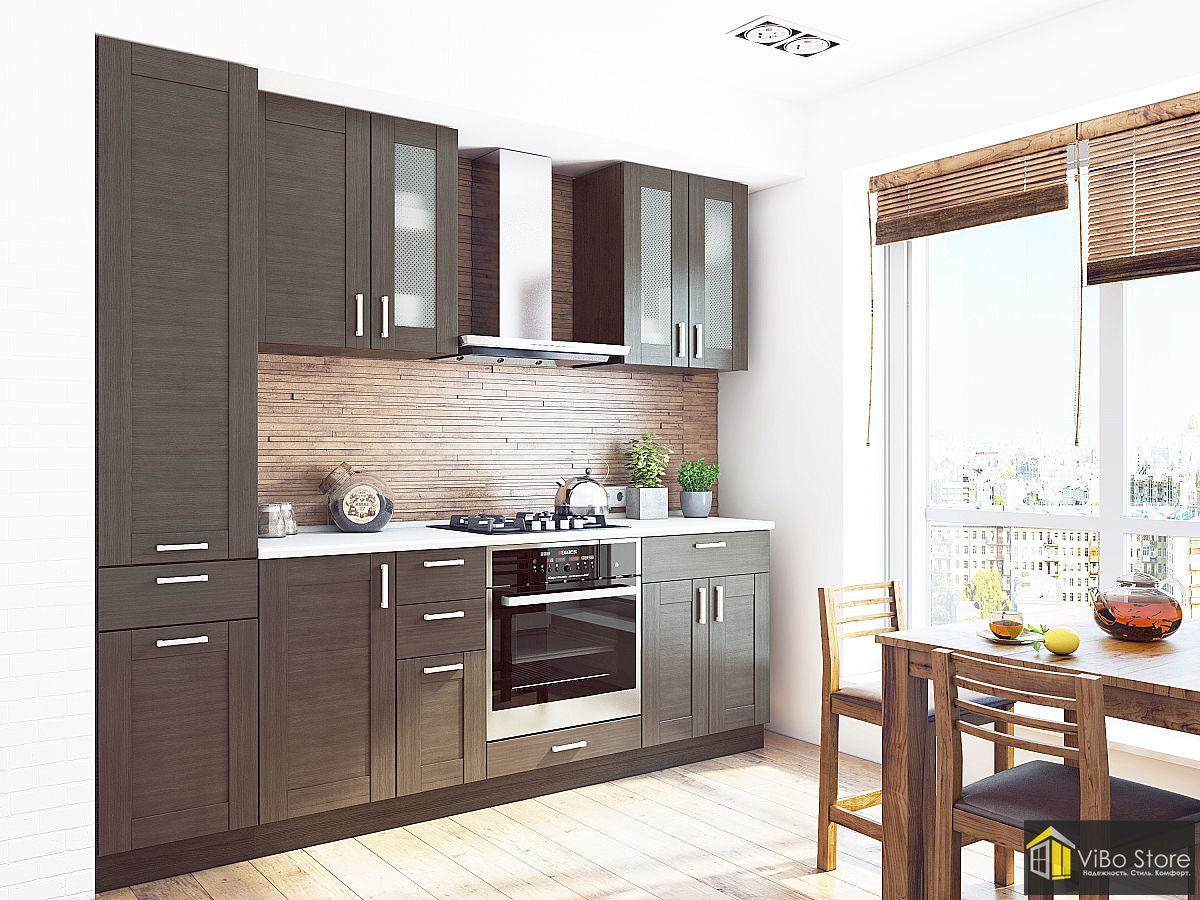 Темно коричневая кухня в стиле модерн