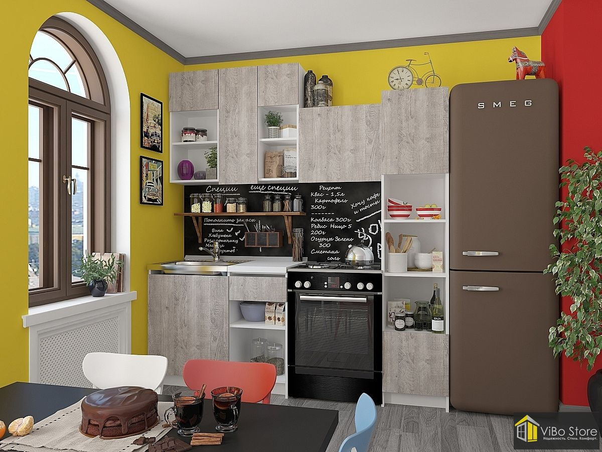 Компактная кухня под мрамор