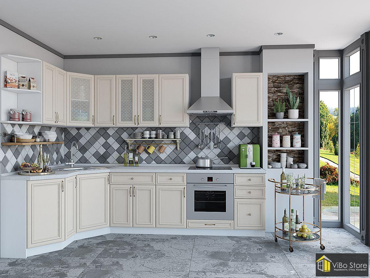 Угловая белая кухня в стиле кантри