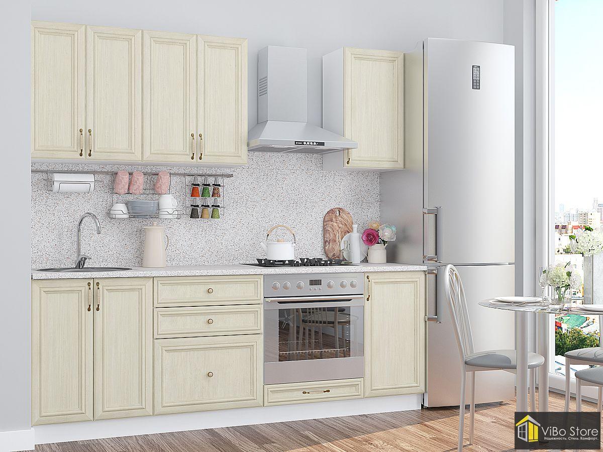 Классическая недорогая белая кухня