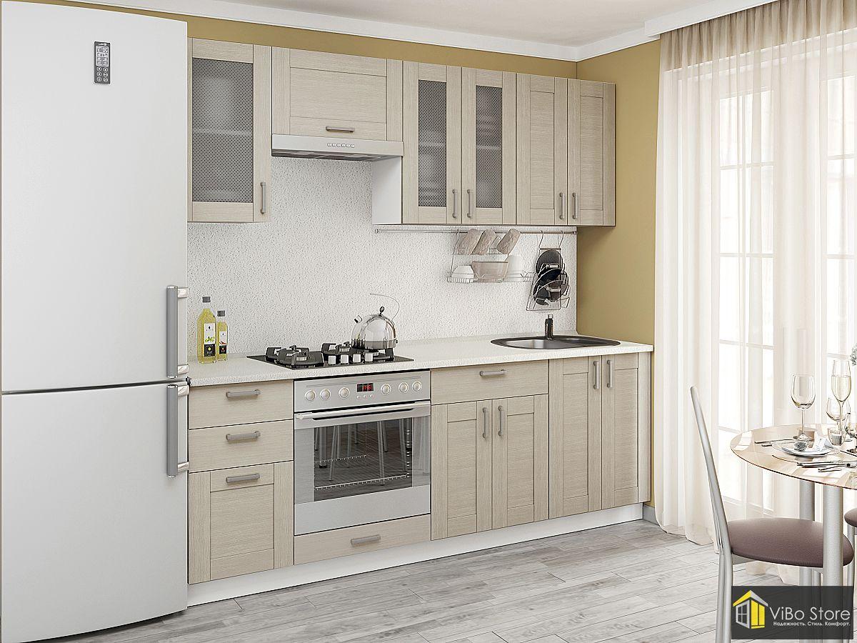 Серая современная недорогая кухня 8 кв.м