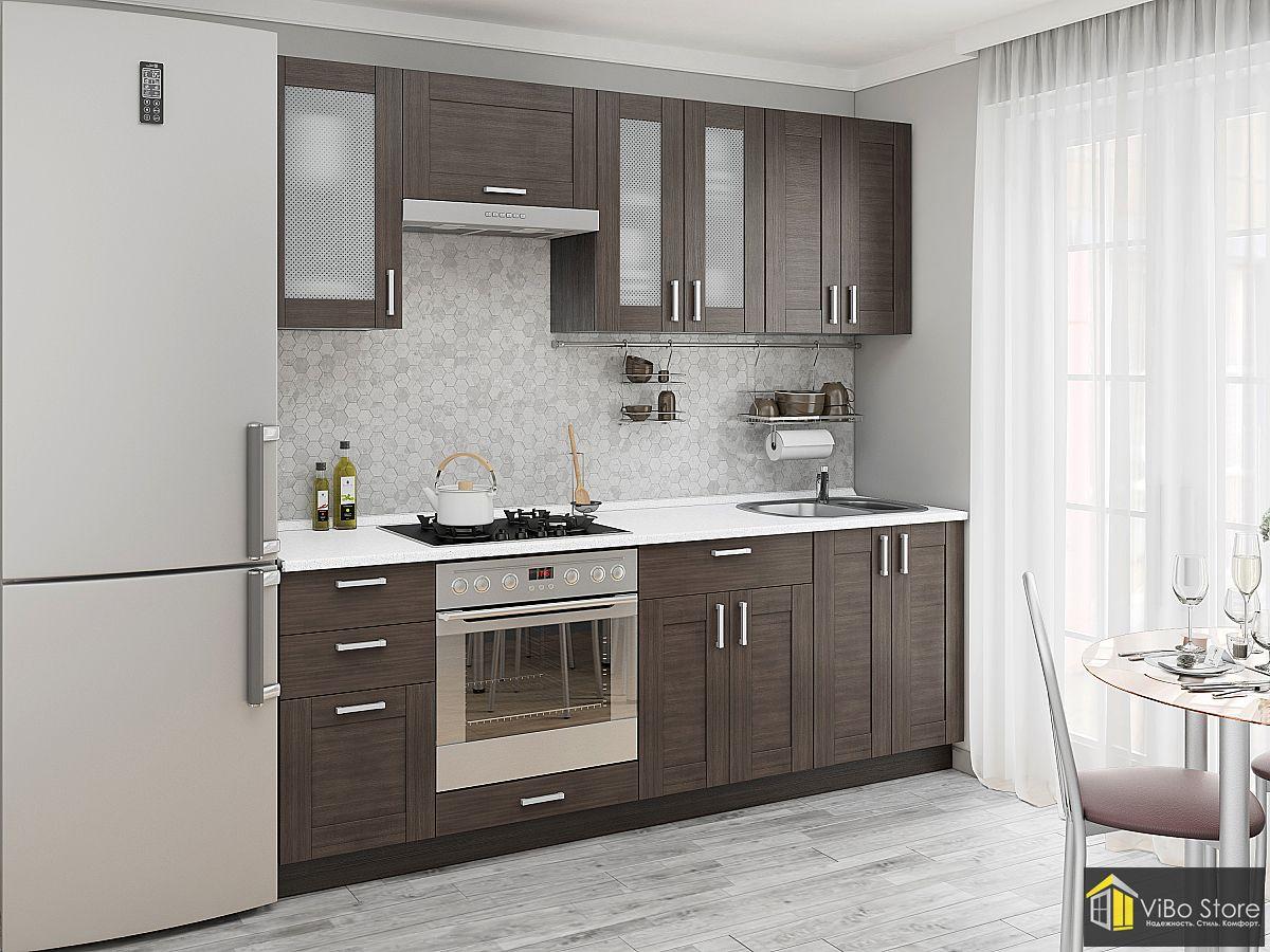 Эффектная прямая кухня с фасадом венге 8 кв.м