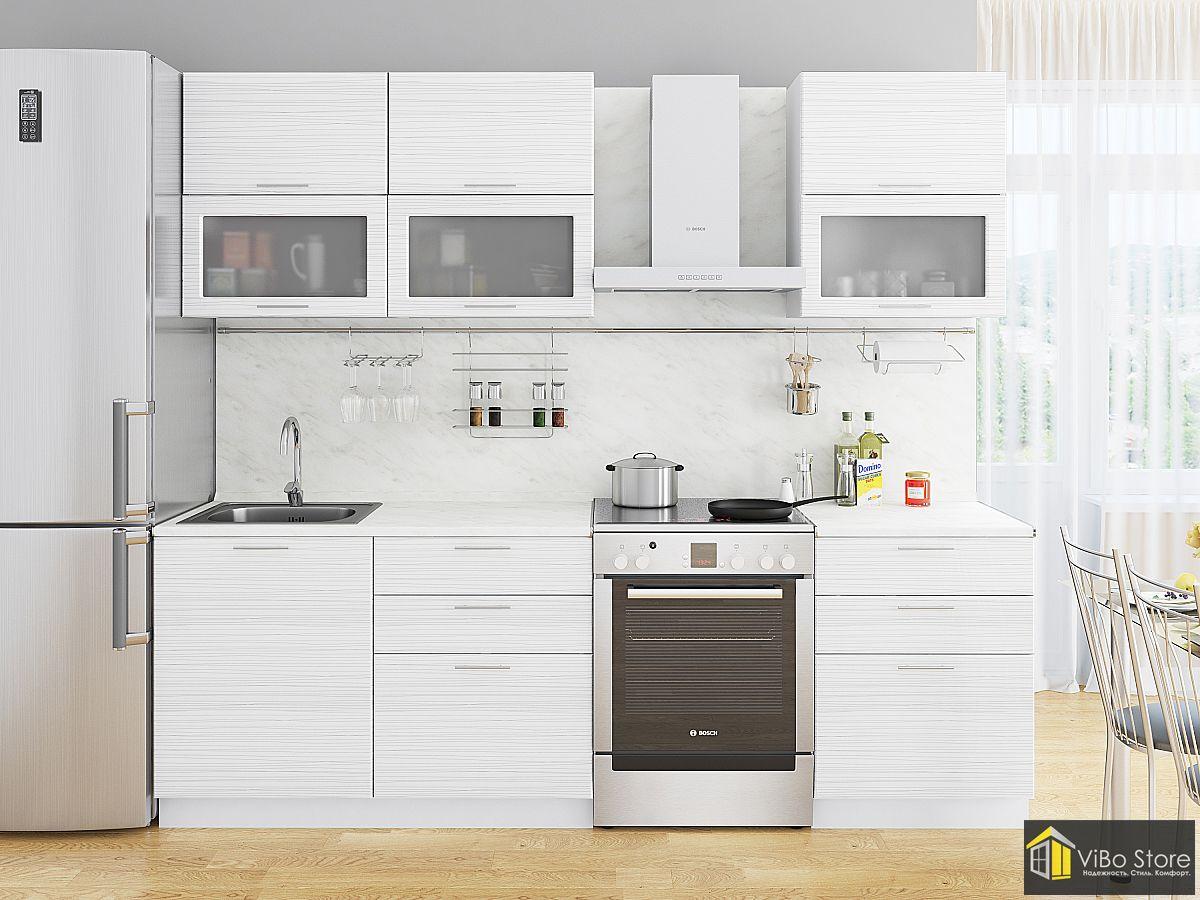 Недорогая модульная кухня белый глянец страйп