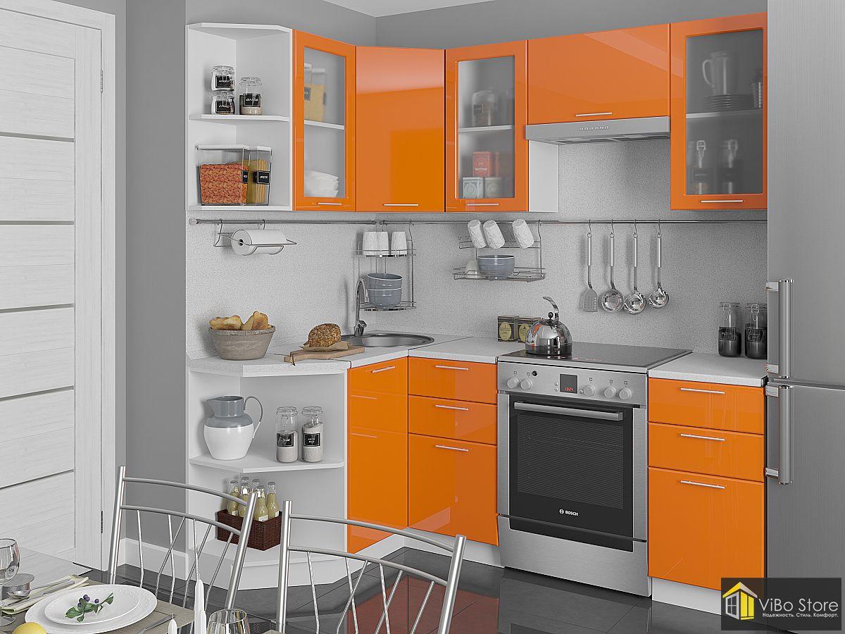 Белая кухня эконом-класса, оранжевый глянец