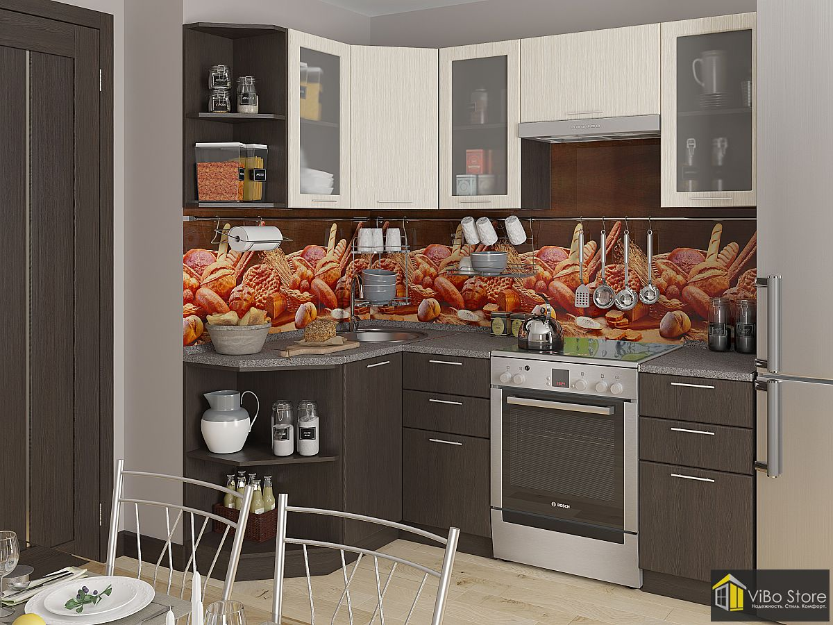 Современная кухня беленый дуб, венге, ЛДСП 2140*1290