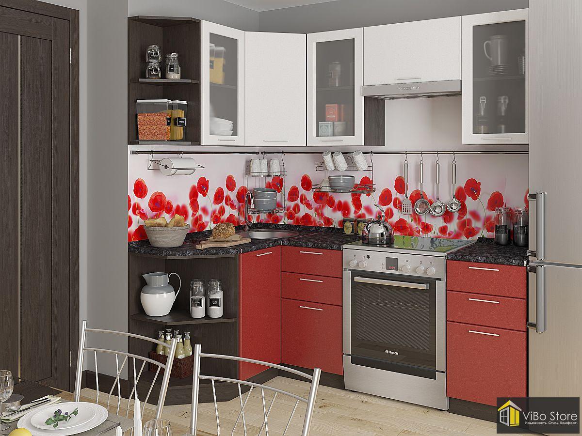 Кухня хай тек, фасад гранатовый металлик 2140*1290